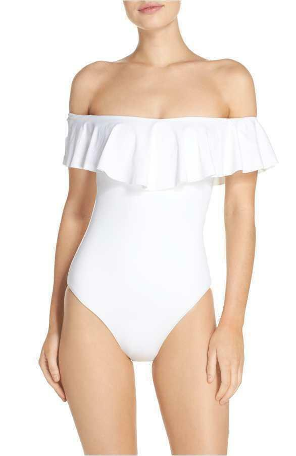 128 NWT NEW Trina Turk White Gypsy Off The Shoulder One Piece Swimsuit 10