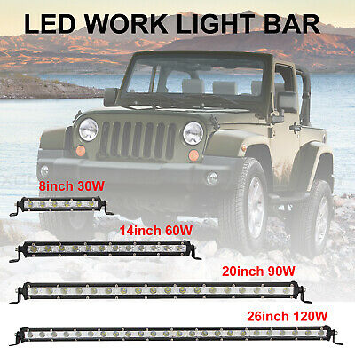 8//14//20//26 inch Slim LED Work Light Bar Spot Flood Lamp for Car Off road Truck