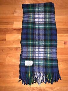 Vintage-Faribo-Plaid-Wool-Throw-Faribault-Woolen-Mill-Co-Minnesota-Blue-Green