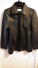 New Calvin Klein Black Leather Coat For Women Size M