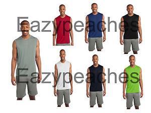 56b898a5 SPORT TEK SLEEVELESS Moisture dri fit Wick MUSCLE T-shirts Mens Size ...