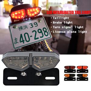 Motorrad-LED-Ruecklicht-Blinker-Bremslicht-Heckleuchte-Nummernschild-Smoke-Lampe