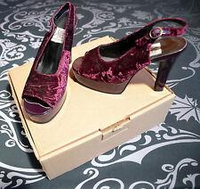 Vintage Purple / Maroon Velvet Platform Heel Slingback Sandals / Shoes Size 5