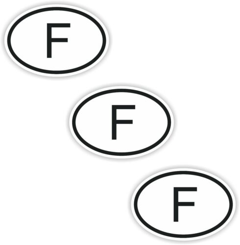 3x Black /& White Oval Stickers France Small Country Code Car Bumper Tablet