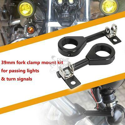 2x 39mm Motorcycle Headlight Fog Turn Signal Light Relocation Fork Mounts Stand