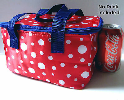 KIDS Thermal Thermo Insulated Cooler Zip RED DOT Bag 21x13x13cm for Bento Lunch