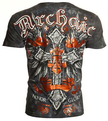 Archaic AFFLICTION Men T-Shirt VELOCITY Cross Wings Tattoo Biker UFC M-4XL $40 b