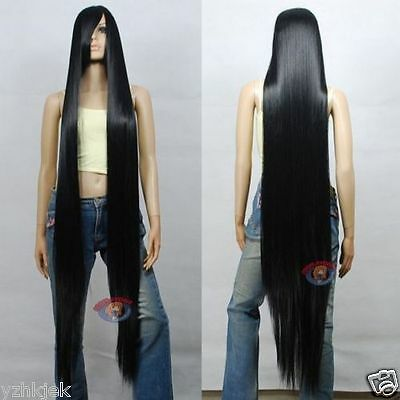 150cm 60 inch Hi_Temp Series Black Extra Long Cosplay DNA Wigs