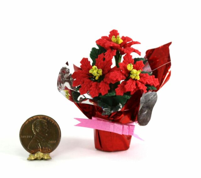 Dollhouse Miniature 1:12 Christmas Holiday Red Poinsettias in Country Planter