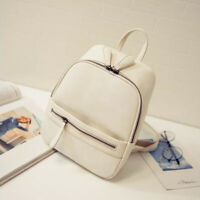 Fashion Women Backpack PU Leather Zipper Simple Solid Bag Bookbags