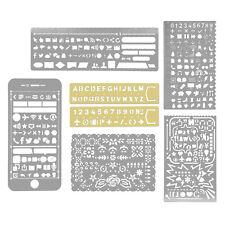 7pcs Metal Hollow Drawing Alphabet Brash Letter Template Ruler Stencil Card Tool