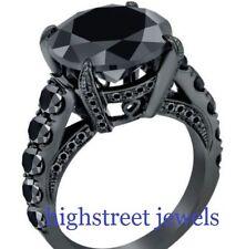 Black Diamond Wedding Ring 5.35 Ct Round Diamond Black Sterling Silver Ring gtc