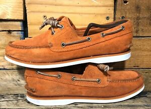 Timberland-Boat-Shoes-Classic-2-Eye-Suede-Orange-White-Topsiders-Size-10