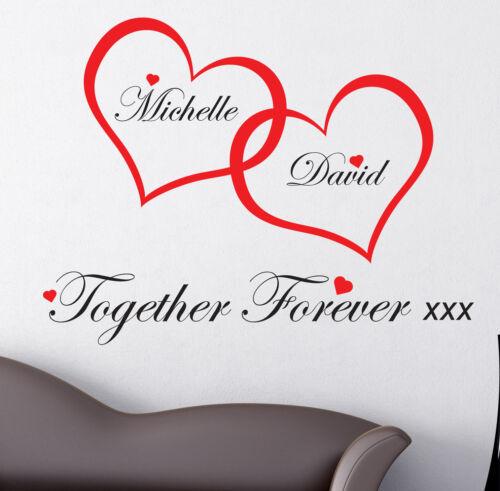 Coeurs amour Personnalisé Mur Art Stickers Autocollants Chambre W58