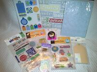 Lot 9 Baby Boy Scrapbooking Card Making Supplies Stickers Cardstock, Tags