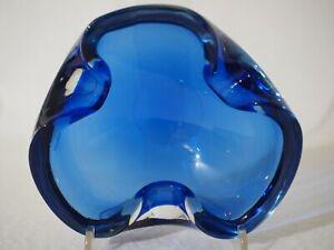 MURANO-Aschenbecher-Ascher-Vintage-Ashtray-Blue-Crystal-Kristall-Kobaltblau-TOP