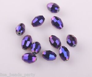 20pcs-10x8mm-Oval-Rugby-Faceted-Crystal-Glass-Finding-Loose-Beads-Purple-Plated
