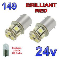 2 x ROSSO LED 24V BA15S 149 R5W 8 SMD TARGA INTERNI LAMPADINE Mezzi Pesanti Camion