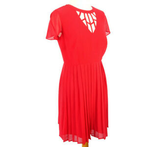 Holly-Willoughby-Size-10-12-Red-Short-Sleeve-Pleated-Fit-Flare-Party-Dress