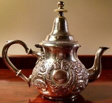 Rare Antique Moroccan Darel Berrad Theiere Moulay Hassan Signed Silver Tea Pot