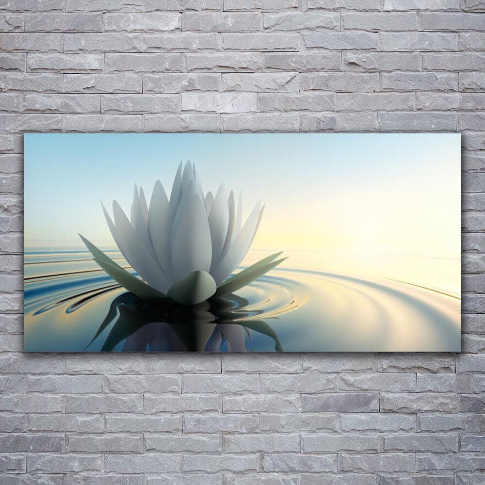 Verre Imprimer Wall Art Image 120x60 Photo Fleur Eau Art