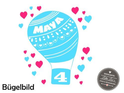 Bügelbild Geburtstag Luftballon  XXL Wunschfarbe Größe Flex Glitzer Flock