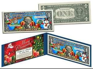 MERRY-CHRISTMAS-Colorized-1-Bill-U-S-Legal-Tender-SANTA-SNOWMAN-Jingle-Bucks