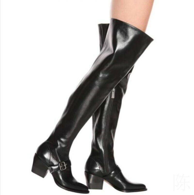 Mode Damenpumps Stiefel Overknee 34 44 Blockabsatz Spitz Reißverschluß Europa