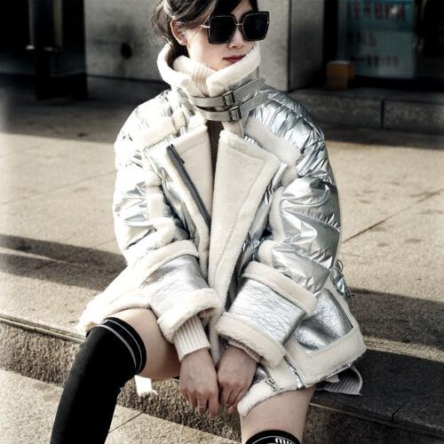 Fleece Outwear Down Parka Stål Kvinders Jacket Shiny Kragen Varm Motor Winter BWqdwp