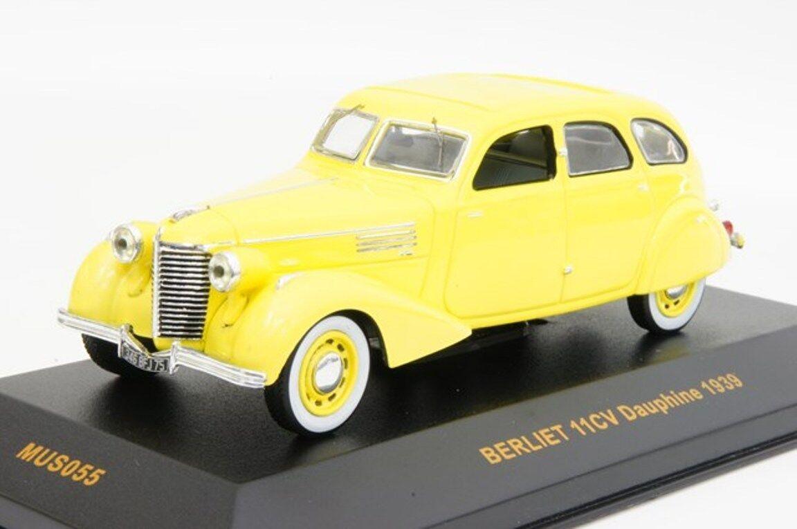 BERLIET 1CV DAUPHINE 1939 jaune IXO MUS055 1 43 MUSEUM JAUNE jaune