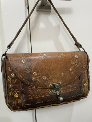 Vintage Retro Boho 60s-70s Tooled Leather Handbag