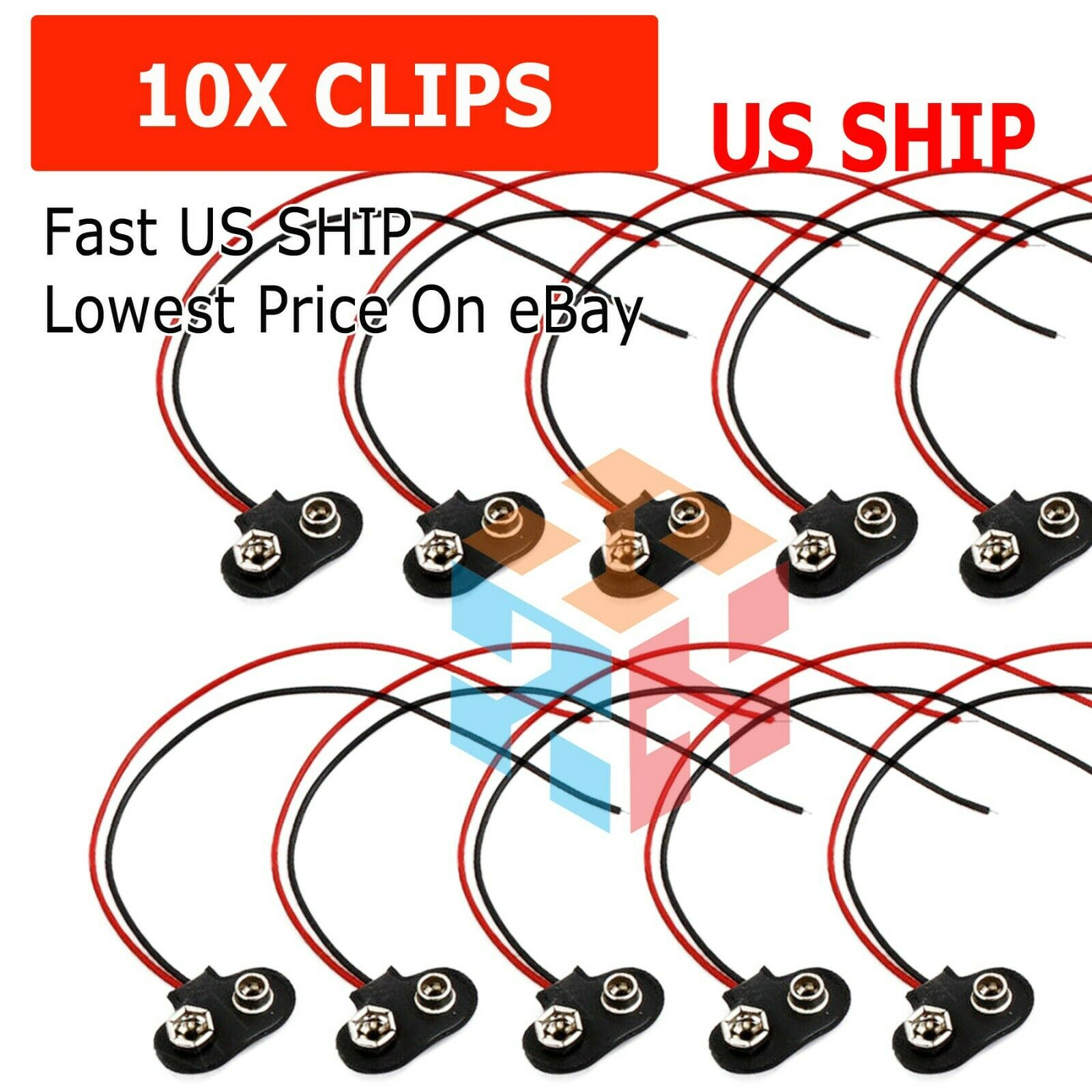 2//20//50//100 X 9V Battery Snap T Type Clip Lead Wire Connector Power Supply Cable