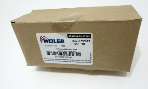 """WEILER 10024 1/"""" .020 Stainless Crimped Wire End Brush BOX OF 10 Made in USA"""