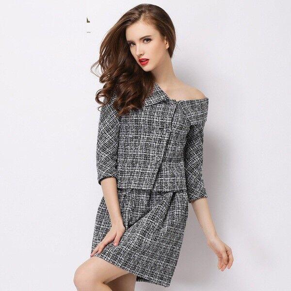 Elegante raffinato abito vestito completo Dimensioneur giacca maglia gonna  completo 4591 5adf81 c7cea93bfc9