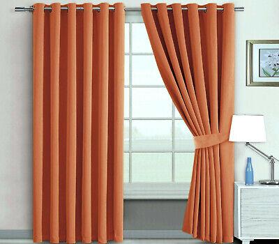 Extra Long 285cm Drop Eyelet Curtains Light Blocking Blackout Matching Tiebacks