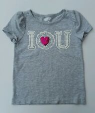 Grey Crazy 8 I Love U You Laugh Love Smile T Shirt Pink Sequin Heart Size XS 4