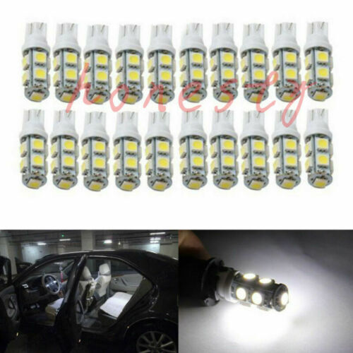 10PCS White T10 Wedge 9 SMD 5050 Car LED Light bulbs W5W 2825 158 192 168 194