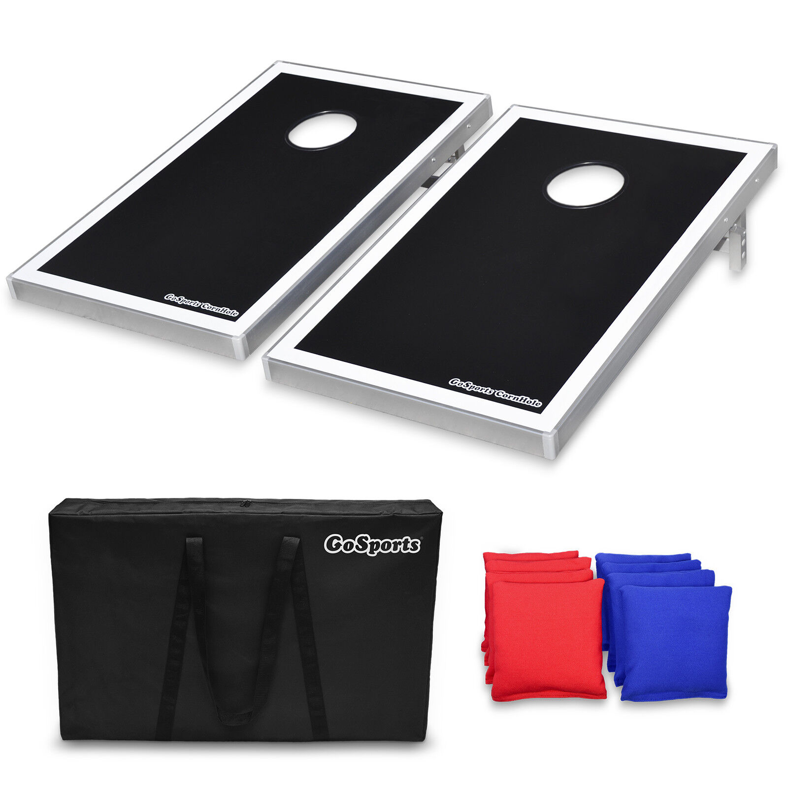 GoSports Foldable Cornhole Bean Bag Toss Set with 8 Bags and Carry Case (3'x2')