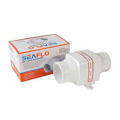 """SEAFLO 3/"""" 12V In-Line Air Blower Fan Vent 130CFM 220CMH 12 volts Replace Shurflo"""