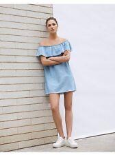 Bereshka Zara Group Denim Ruffle Off The Shoulder Dress Size Xs 6 New