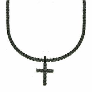 Men S Black Finish Bling Lab Diamond Cross 4mm Black Tennis Chain 1 Row Necklace Ebay