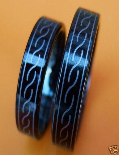 2 Wolfram//Carbide anillos pareja-Black-celtic-Titan duro 30#