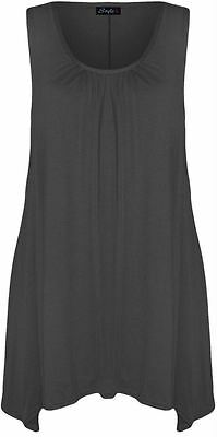 New womens Plus Size Uneven Dip Hem Sleeveless Fitted Tunic top 16-26