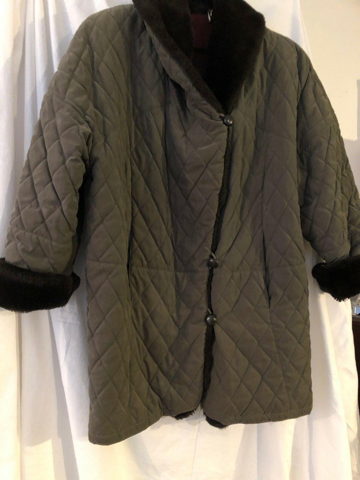 VTG Searle Blatt  SZ- 12  Studio Women's green quilted  FAUX Fur Collar