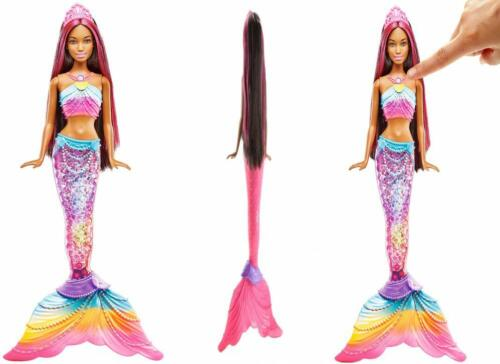 Barbie Dreamtopia Mermaid Rainbow Lights Doll Dark Brown /& Pink Hair