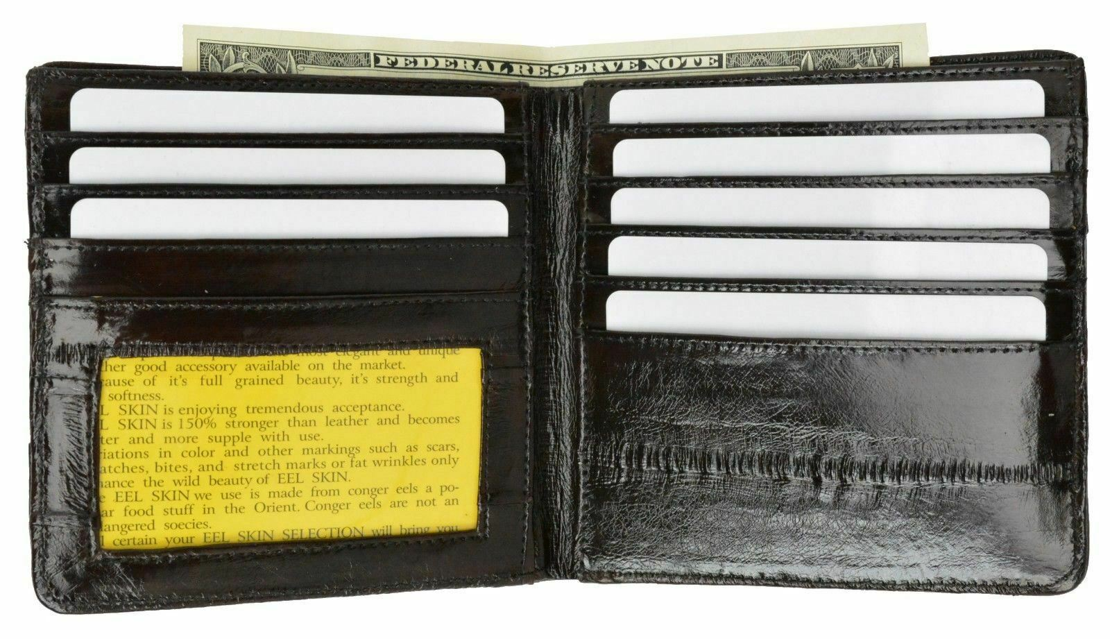 Brown Eel Skin Leather Bifold Wallet Slim Hipster Cowhide Credit Card and ID New
