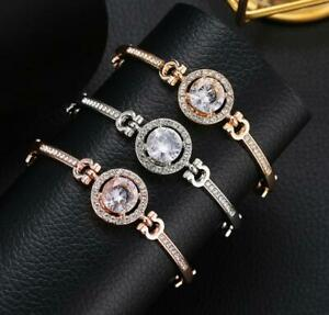 Adjustable-Silver-Rose-Gold-Crystal-Diamante-Bangle-Wedding-Bridesmaid-Bracelet