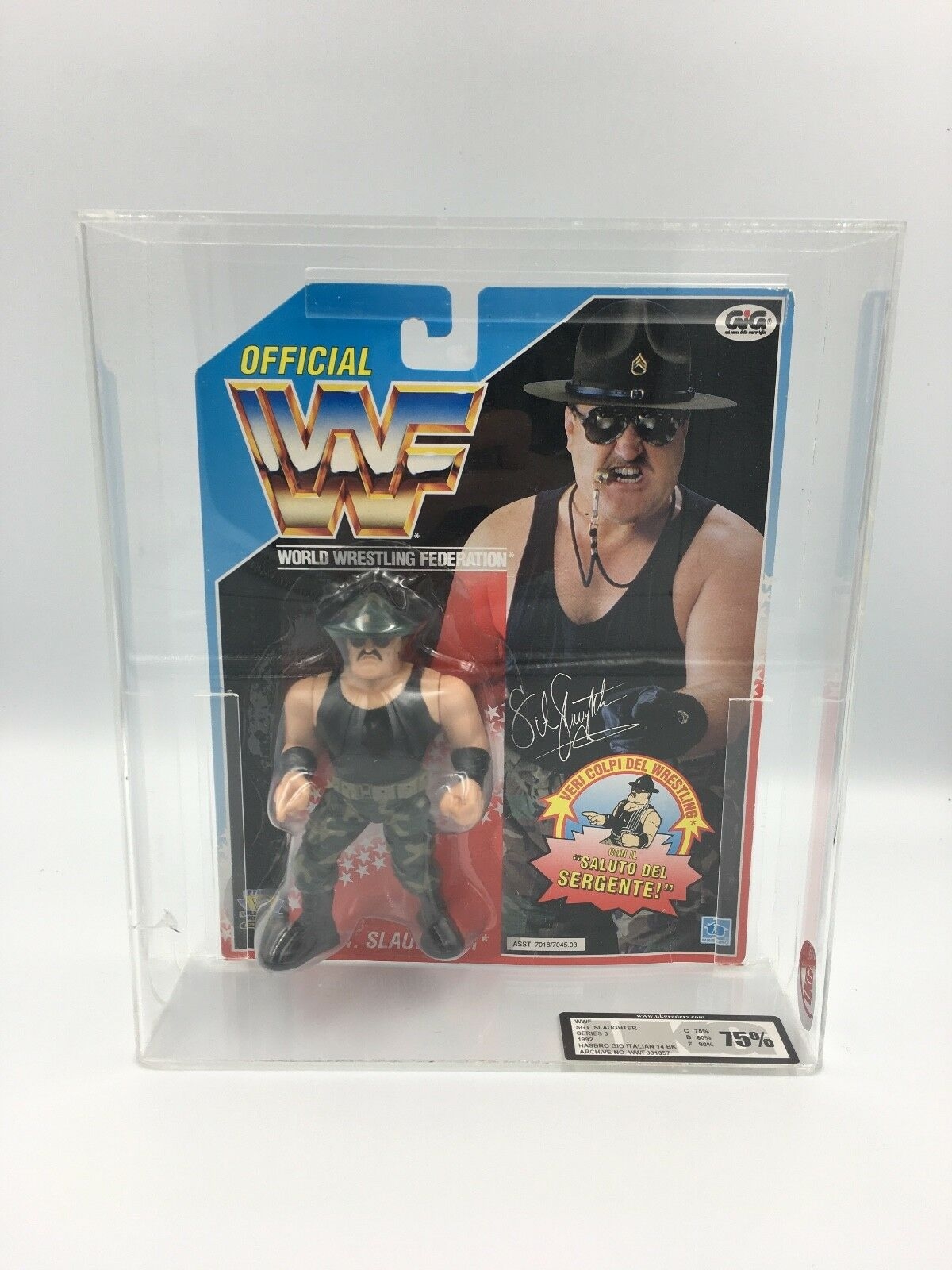 Vintage WWF Hasbro Sgt Slaughter, Series 3, 1992 Carded Figure-UKG not AFA