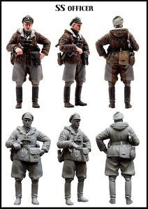 1-35-WW2-RESIN-MODEL-KIT-FIGURE-GERMAN-WAFFEN-SS-OFFICER-IN-WINTER