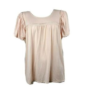 ANN-TAYLOR-LOFT-Solid-All-Light-Pink-Short-Sleeve-Top-Womens-Size-M-Medium